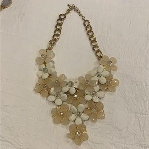 Nude Colored Flower Necklace with Gold Chain